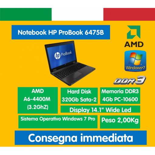 "NB 14"" 6475b AMD A6-4400M 4GB 320GB Windows 7 Professional HP ProBook Notebook ricondizionato portatile"