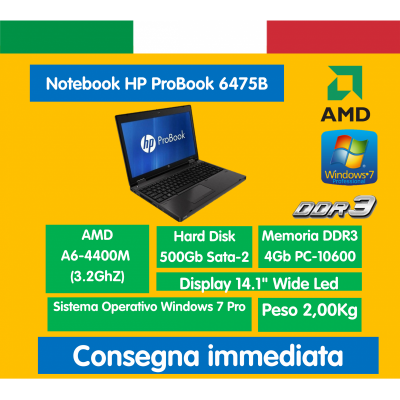 "NB 14"" 6475b AMD A6-4400M 4GB 500GB Windows 7 Professional HP ProBook Notebook ricondizionato portatile"